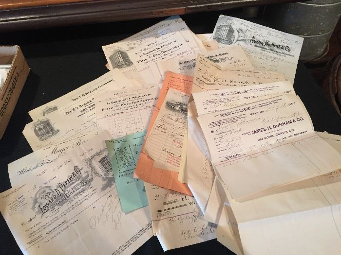 Old receipts found in attic dating from late 1800's to 1940's.  From businesses in Easton, PA, NYC, New Jersey.