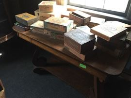 Tiger Oak Library Table, cigar boxes - wood, paper, metal
