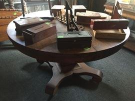 Tiger Oak DR table, wood boxes of various sizes, corner shelf