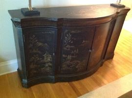 "Beautiful Breakfront - 64 "" wide x 35 1/4"" tall and 19"" deep - Cabinet doors in center and shelved side 1 door cabinets. $ 450.00"