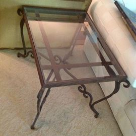 Glass top Metal End Table $ 70.00