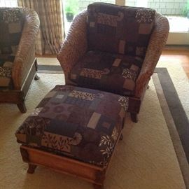 Beautiful Wicker style chair - $ 350.00 - Ottoman $ 100.00