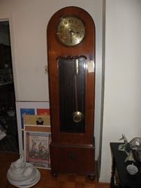 Arts and crafts Grandfather clock, white ironstone, framed art.