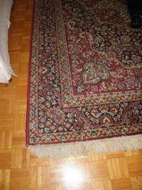 Burgundy background wool rug 8 x 10