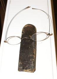 Civil War Era Eye Glasses & Leather Holder Case