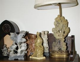 Assortment of Carved Soap Stone Figures & Table Lamp