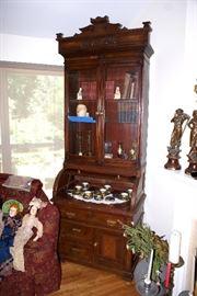 C.1870's Walnut Cylinder Desk & Bookcase