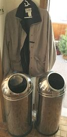 Various jackets & coats including Eddie Bauer Chrome tall garbage cans