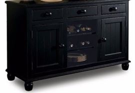Lane black sideboard with drawers, cabinets, wine storage  (note: factory photograph)