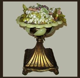 Attractive Metal and Glass Centerpiece with Glass Grapes
