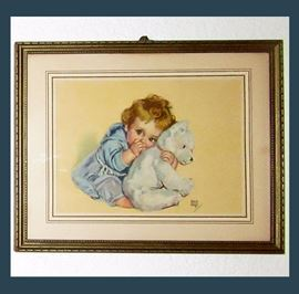 Maud Tousey Fangel Baby with Bear Print