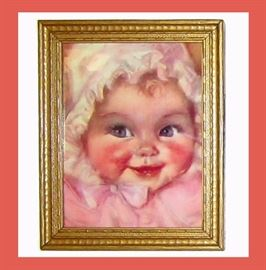 Really Sweet Framed Vintage Baby Picture