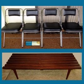 Mid Century Modern Samsonite Folding Chairs and Mid Century Modern Wooden Slatted Coffee Table
