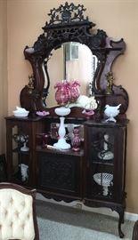 Fine antique  Etageres  carved wood cabinet