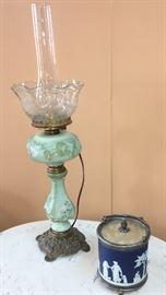 Wavecrest lamp and Wedgewood biscuit jar