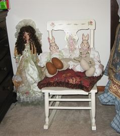 lots of dolls, painted furniture