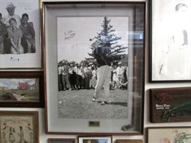 "Signed Byron Nelson photo.  40""x31"". Included in shadow box frame if hickory golf club."