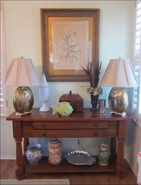 Solid Pine Table.  Brass Lamps, Beautifully Framed Floral Print, Lucite Cachebox, Great Pottery.