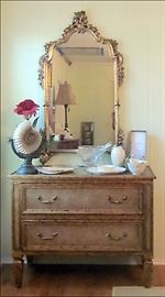 Fancy Glass Encrusted Chest.  Antique Gold Framed Mirror. Crystal and Porcelain.