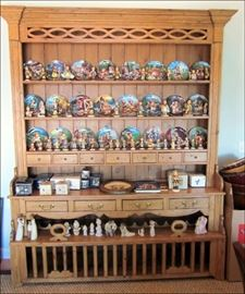 Two-Piece Pine Hutch with a Wine Rack.  Hummel Figurines and Plates.  Precious Moments.