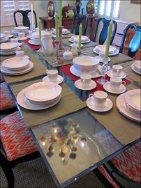 Dining Table with Mikasa Service for 16.