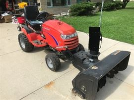 Rare 4 wheel Simplicity 9600 drive tractor with hydraulic lifts, snowblower attachment, PTO, sold new for $14,000.