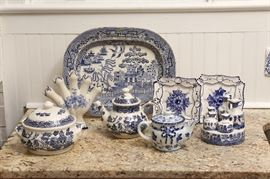A few pieces of a large collection of blue and white.  Platter in rear is Blue Willow C.1840.