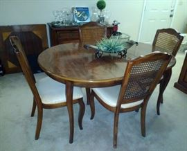 Vintage Dining Table with 4 Caned-Back Chairs