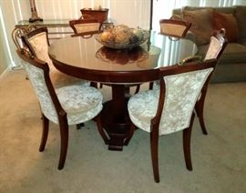Modern Dining Table & 6 Chairs- Shown w/Glass Top, but it also has a leaf