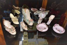 Antique Dresden Porcelain Slipper Shoes