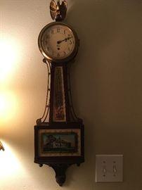1940's Chelsea Banjo Clock Mount Vernon Reverse Painted