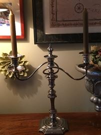 Birks Regency Plate Twisted Arm Candlesticks