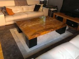 "Quartz Table and Custom Rug measures 59"" x 49.5"" x 15"" (table) and 107"" x 90"" (rug) THIS ITEM NOT PART OF ANY DISCOUNTS"