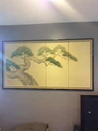"Byoubu Japanese Screen with certificate of authenticity, measures 66"" x 37"""