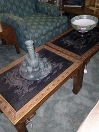 Carved top Asian style tables; one of two occasional chairs in aqua and green