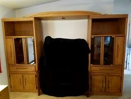 """TV Center  91"""" L x 76 1/2"""" H x 20"""" W    shelves light up width is adjustable connecting top is movable"""