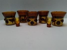 Mid Century Amber Caged Glass Tumblers