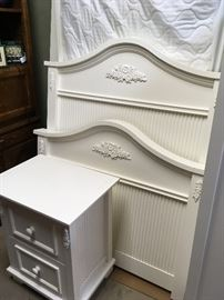 White twin bed - headboard, footboard, nightstand