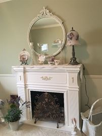 WOOD FIREPLACE , ANTIQUE MIRROR