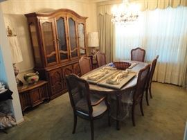 Dining room set with 6 chairs china cabinet with buffet