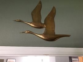 Brass geese wall hangings