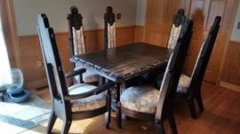 Hand Carved Portuguese Table w/ (6) Chairs (From Portugal)