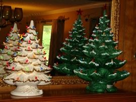 Wonderful Ceramic Trees - White one is musical.  All the lights are there, and are in great condition.