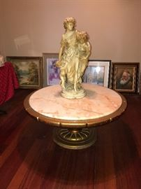 MARBLE TABLE WITH STATUE