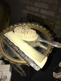 VINTAGE BRUSH AND MIRROR