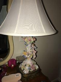 ITALIAN PORCELAIN FLORAL ANGELS LAMP