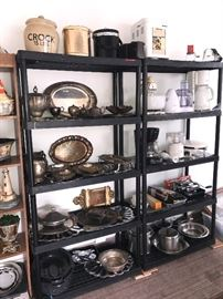 LARGE VARIETY OF SILVER-PLATED PLATTERS, TEAPOTS, SERVING DISHES