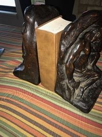 ANTIQUE WOODEN HAND-CARVED BOOKENDS