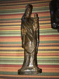 ANTIQUE WOODEN HAND-CARVED MARY AND JESUS
