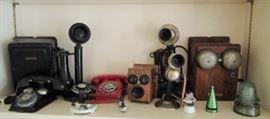 Antique telephones, insulators